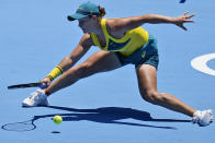 Ashleigh Barty, of Australia, plays against Sara Sorribes Tormo, of Spain, during the first round of the tennis competition at the 2020 Summer Olympics, Sunday, July 25, 2021, in Tokyo, Japan. (AP Photo/Seth Wenig)