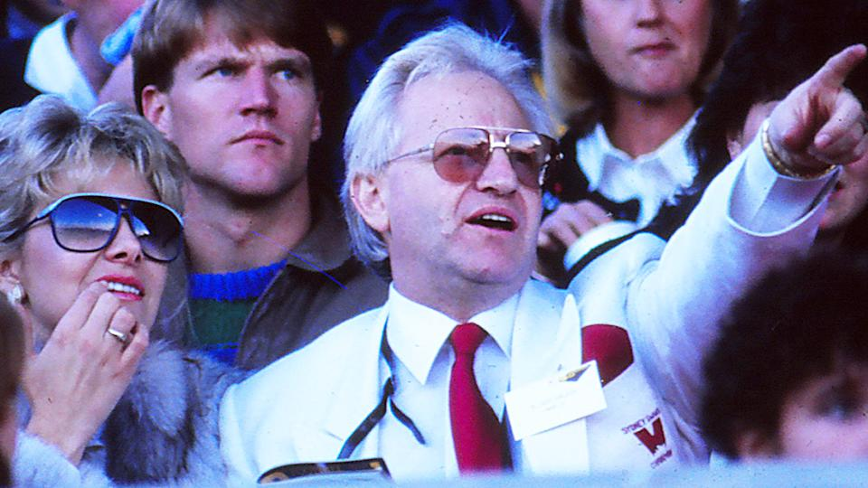 Geoffrey Edelsten, pictured here at a Sydney Swans game in Melbourne in 1988.