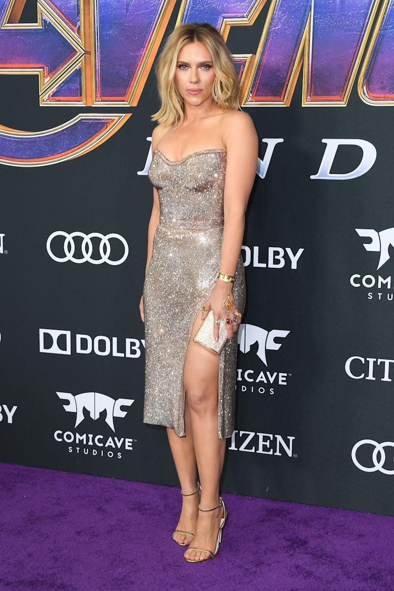 """Scarlett Johansson took a glamorous turn on the red carpet at the the world premiere of """"Avengers: Endgame"""" in Los Angeles Convention Center on April 22."""