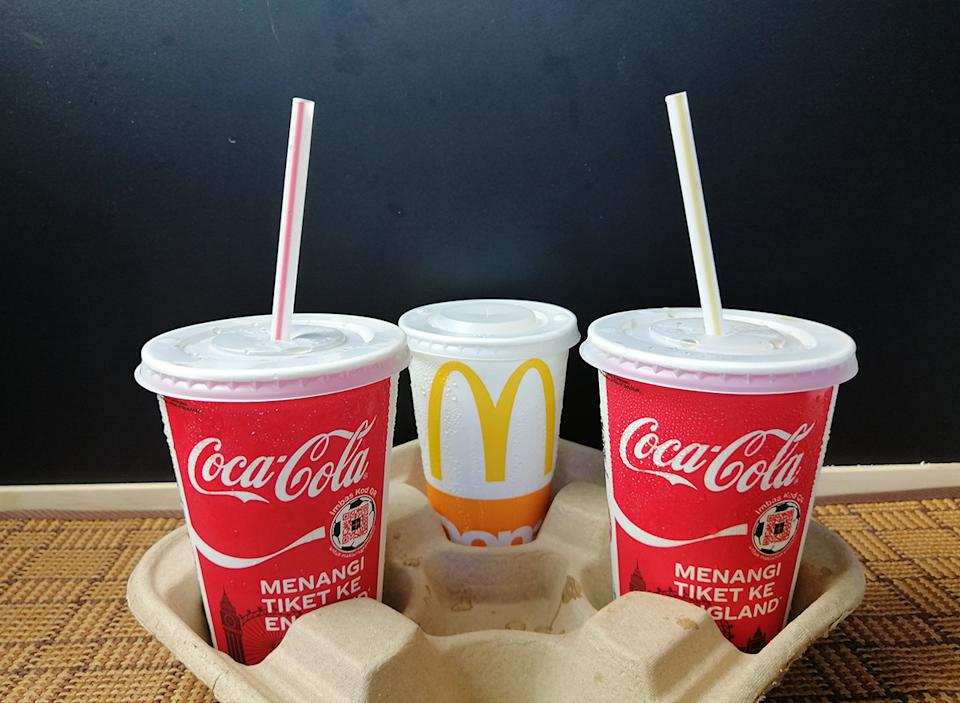 mcdonald's coca cola cups with straws