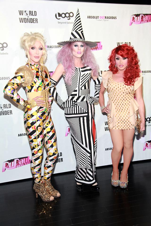 "Chad Michaels, Sharon Needles and Phi Phi O'Hara attend the ""<a target=""_blank"" href=""http://tv.yahoo.com/rupaul-39-s-drag-race/show/44202"">RuPaul's Drag Race</a>"" Season 4 Finale Viewing Party at XL Nightclub on April 30, 2012 in New York City."