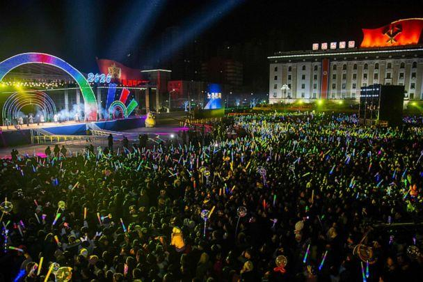 PHOTO: Spectators watch a musical performance during an event marking the New Year on Kim Il Sung square in Pyongyang on December 31, 2019. (Kim Won Jin/AFP via Getty Images)
