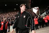 Southampton's new manager Glenn Hoddle walks out at The Dell