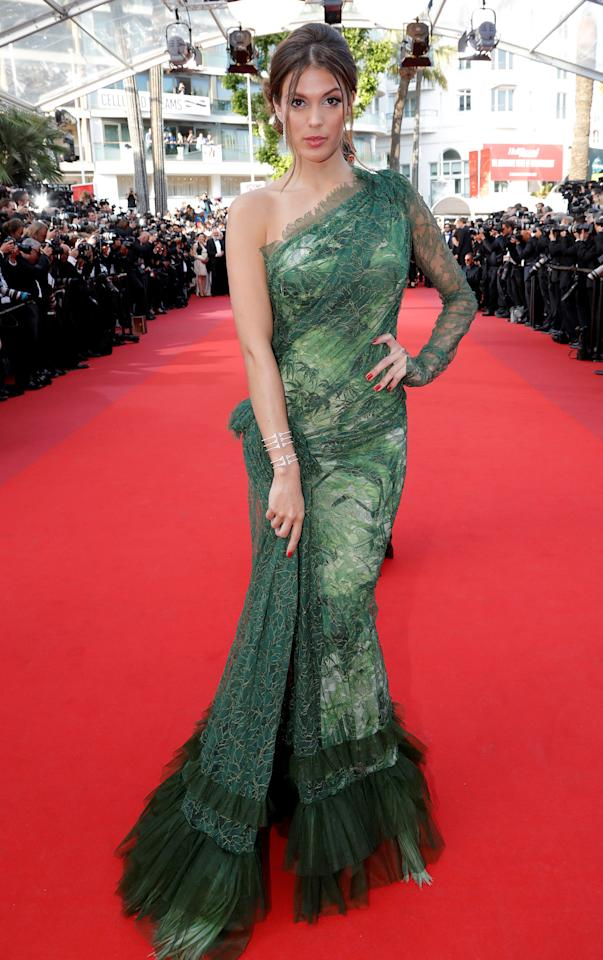 """70th Cannes Film Festival - Screening of the film """"The Beguiled"""" in competition - Red Carpet Arrivals - Cannes, France. 24/05/2017. Miss Universe Iris Mittenaere poses. Picture taken May 24, 2017.         REUTERS/Eric Gaillard"""