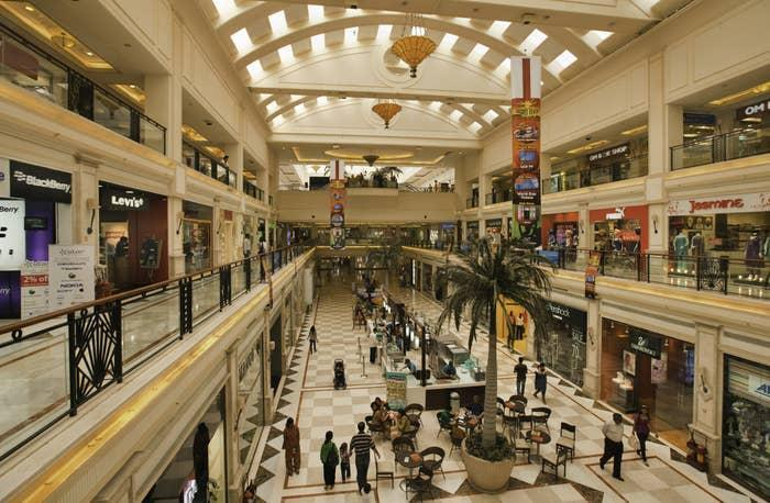 views of shops and people at a mall