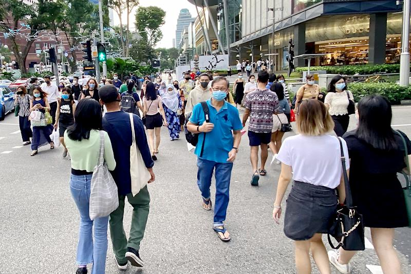 People seen along Orchard Road on 16 October 2020. (PHOTO: Dhany Osman / Yahoo News Singapore)