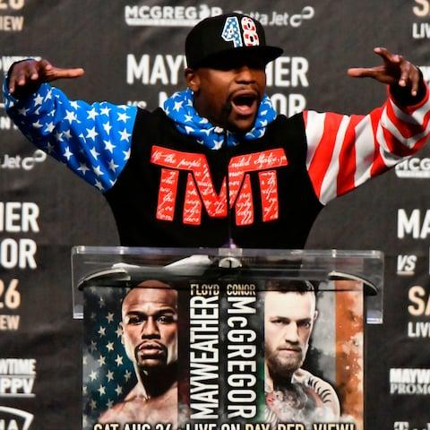 Floyd Mayweather Jr. speaks about the upcoming fight against UFC fighter Conor McGregor - Credit: AFP