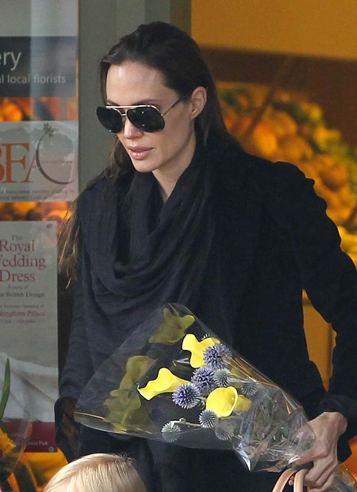 "Angelina Jolie might possibly stab Brad Pitt, reveals the <i>National Enquirer</i>. Back in 1999, Jolie said in an interview that she had a nightmare about plunging a fork into her father, Jon Voight. Now her bad dreams are back, and ""Brad's greatest fear"" is that ""Angie could wind up sleepwalking and unknowingly become violent with him."" For how serious this is, and what special measures Pitt and Jolie are taking, log on to <a href=""http://www.gossipcop.com/angelina-jolie-nightmares-violent-stab-brad-pitt-jon-voight/"" target=""new"">Gossip Cop</a>. <a href=""http://www.splashnewsonline.com"" target=""new"">Splash News</a> - July 23, 2011"