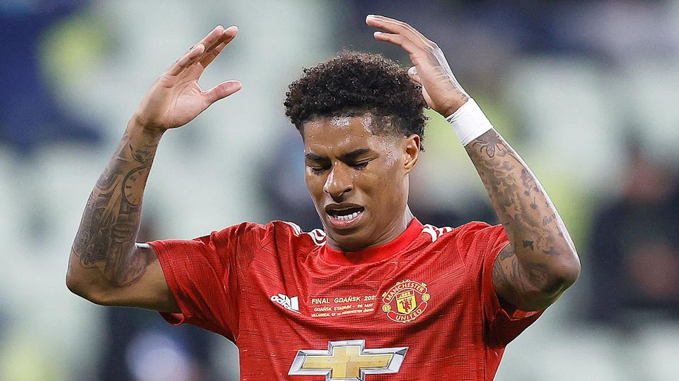 Seen here, Manchester United's Marcus Rashford looks frustrated during the Europa League final.