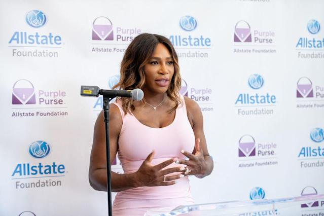 Williams at the Allstate Foundation Purple Purse national street art event at Tictail Market in New York City. (Photo: Getty Images)
