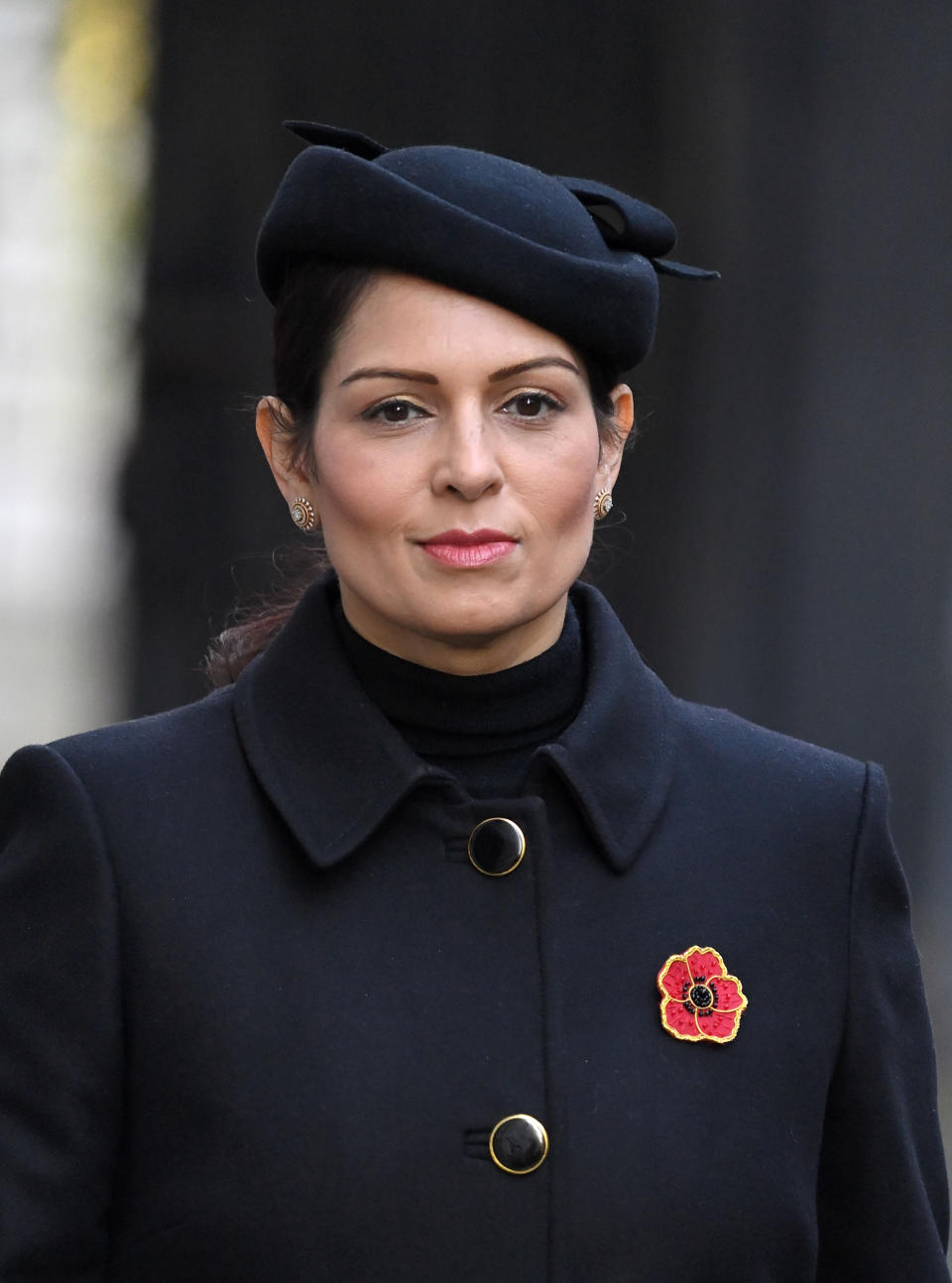 LONDON, ENGLAND - NOVEMBER 08: Priti Patel, Secretary of State for the Home Department attends the National Service of Remembrance at The Cenotaph on November 08, 2020 in London, England. (Photo by Karwai Tang/WireImage)