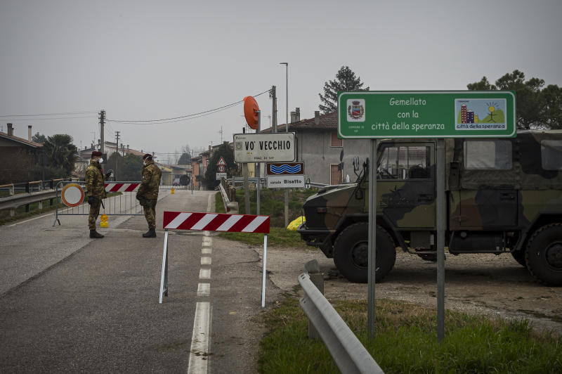 VO VECCHIO,ITALY. A checkpoint as the town of Vo Vecchio in Veneto Region is placed under lockdown on February 25,2020 in Italy. Italy is the first country in Europe and the third largest in the world in the number of infections. At the moment there have been 11 deaths and 322 infections. Many regions are involved and the alarm is in northern Italy, where schools have been closed. Across Italy there is a stop to public events, including sports events. (Photo by Alessandro Rota/Getty Images)
