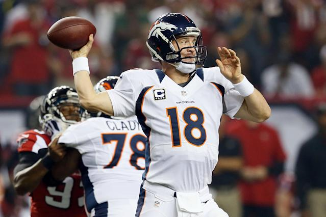 ATLANTA, GA - SEPTEMBER 17: Quarterback Peyton Manning #18 of the Denver Broncos throws the ball against the Atlanta Falcons during their game at the Georgia Dome on September 17, 2012 in Atlanta, Georgia. (Photo by Kevin C. Cox/Getty Images)
