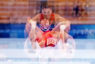 <p>TOKYO, JAPAN - AUGUST 02: Nikita Nagornyy of Russia competes in the Men's Fault Final on day ten of the Tokyo 2020 Olympic Games at Ariake Gymnastics Centre on August 02, 2021 in Tokyo, Japan. (Photo by Bradley Kanaris/Getty Images)</p>