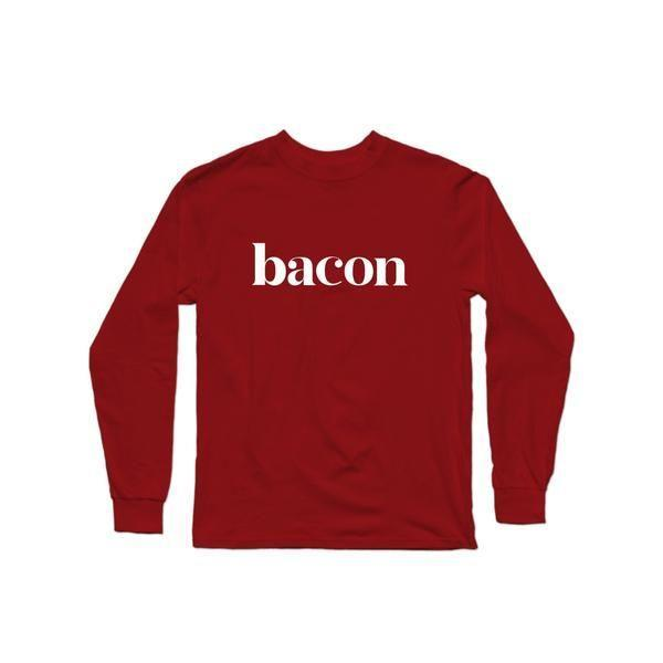 """<p><strong>Delish</strong></p><p>delish.com</p><p><strong>$25.00</strong></p><p><a href=""""https://store.delish.com/bacon-long-sleeve-tshirt.html"""" rel=""""nofollow noopener"""" target=""""_blank"""" data-ylk=""""slk:BUY NOW"""" class=""""link rapid-noclick-resp"""">BUY NOW</a></p><p>Everything's better with bacon, including your wardrobe.</p>"""