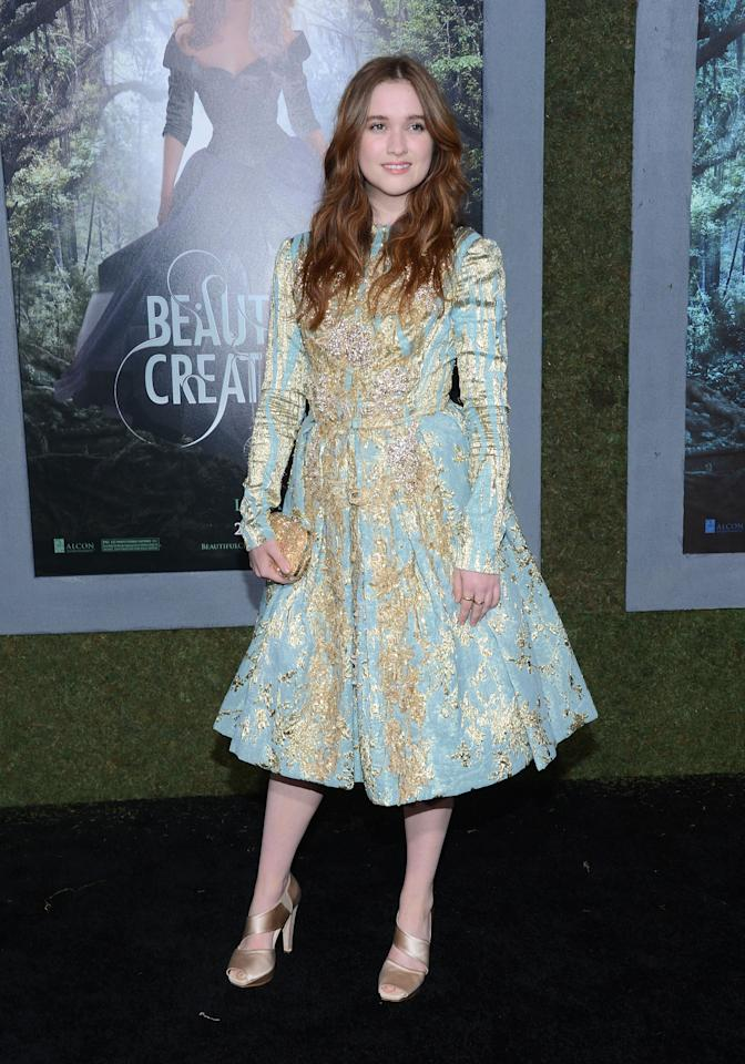 """HOLLYWOOD, CA - FEBRUARY 06:  Actress Alice Englert attends the premiere of Warner Bros. Pictures' """"Beautiful Creatures"""" at TCL Chinese Theatre on February 6, 2013 in Hollywood, California.  (Photo by Jason Kempin/Getty Images)"""