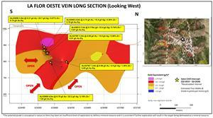 La Flor Oeste Long Section Highlighting Recent Drilling Results.