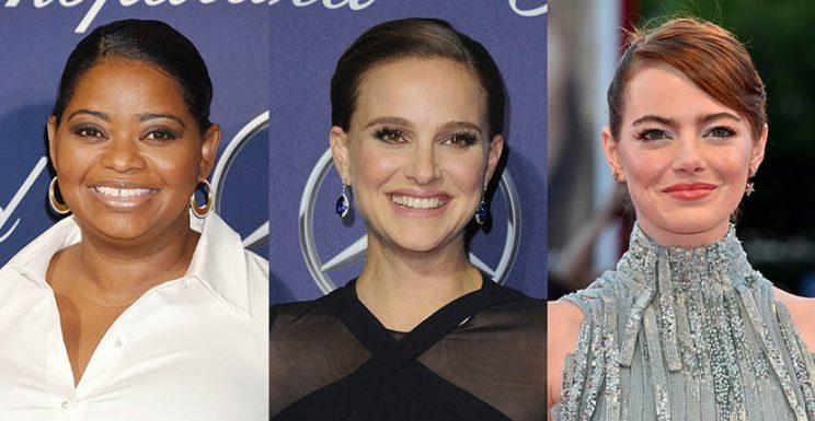 Octavia Spencer in Irene Neuwirth earrings, Natalie Portman in Tiffany earrings and Emma Stone in Selim Mouzannar earrings Photo by Jeffrey Mayer/WireImage; Steve Granitz/WireImage; Pascal Le Segretain/Getty Images