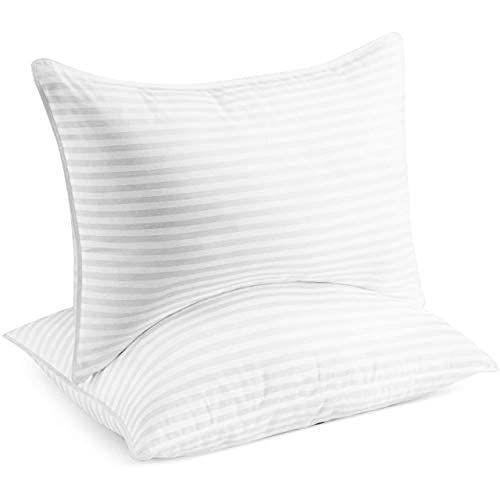 """<p><strong>Beckham Luxury Linens</strong></p><p>amazon.com</p><p><strong>$39.99</strong></p><p><a href=""""https://www.amazon.com/dp/B01LYNW421?tag=syn-yahoo-20&ascsubtag=%5Bartid%7C10057.g.36741165%5Bsrc%7Cyahoo-us"""" rel=""""nofollow noopener"""" target=""""_blank"""" data-ylk=""""slk:BUY NOW"""" class=""""link rapid-noclick-resp"""">BUY NOW</a></p><p>This two-pack includes fluffy, gel-filled fiber pillows. The 250 thread count pillows have a no-shift design—meaning they keep their shape—and are machine washable. Not to mention, they're fade and stain-resistant.</p>"""