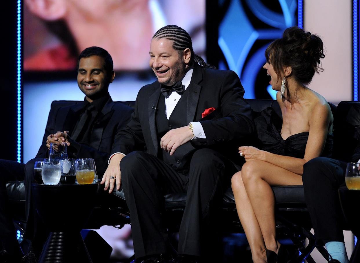 CULVER CITY, CA - AUGUST 25: (L-R) Actor Aziz Ansari, comedian Jeff Ross, and actress Natasha Leggero onstage during The Comedy Central Roast of James Franco at Culver Studios on August 25, 2013 in Culver City, California. The Comedy Central Roast Of James Franco will air on September 2 at 10:00 p.m. ET/PT. (Photo by Kevin Winter/Getty Images for Comedy Central)