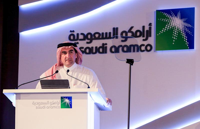"Yasir al-Rumayyan, chairman of Saudi Aramco, speaks during a press conference in the eastern Saudi Arabian region of Dhahran on November 3, 2019. - Saudi Aramco confirmed it planned to list on the Riyadh stock exchange, describing it as a ""significant milestone"" in the history of the energy giant. (Photo by - / AFP) (Photo by -/AFP via Getty Images)"