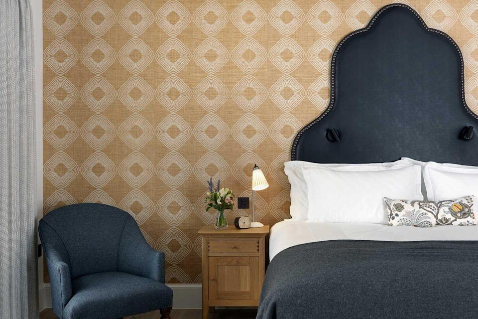 Detail of a guest room at The Stafford London hotel, voted one of the best hotels in the world