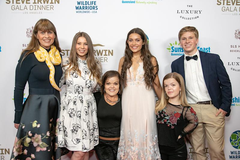 Emmy and Robert were pictured alongside his family and Christy and Autumn Gibel at the gala held in honour of his dad. Photo: Getty Images