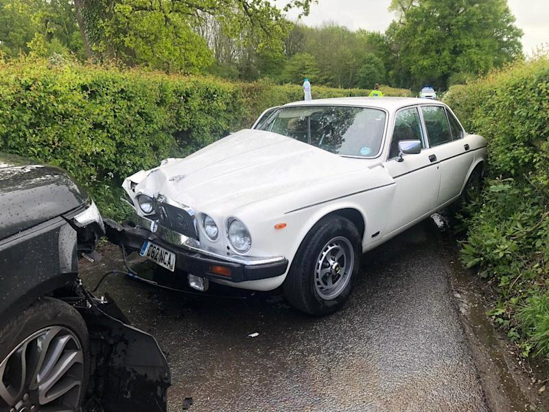 **PICTURE RELEASED FOR SUNDAY PRINT MEDIA - ONLINE EMBARGO UNTIL 6.00AM / SUNDAY 12 MAY, 2019** Collect photo of the damage caused to Patrick Tranter's Jaguar when it was in a collision with Nigel Farage's Range Rover. See SWNS story SWSYfarage. Former UKIP leader Nigel Farage has been banned from his local pub after he allegedly made a swift exit when he was involved in a head on crash with the landlord. Patrick Tranter, 38, was driving home with his one-year-old son when his Jaguar was hit by Farage's Range Rover, he claims. But instead of checking on Patrick and his son, the Eurosceptic MEP is said to have fled the scene. Patrick and his shaken baby son George were taken to hospital in an ambulance, and he claims his car has been written off.