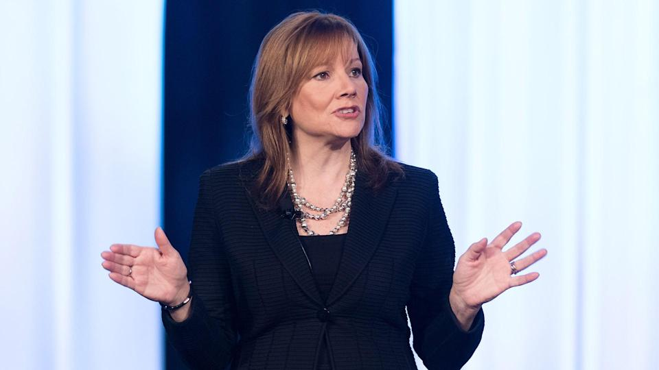 General Motors CEO Mary Barra addresses the Intelligent Transport Systems World Congress Sunday, September 7, 2014 in Detroit, Michigan.