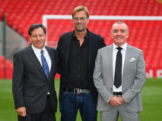 Ian Ayre (right) with Tom Werner and Jurgen Klopp (Getty)