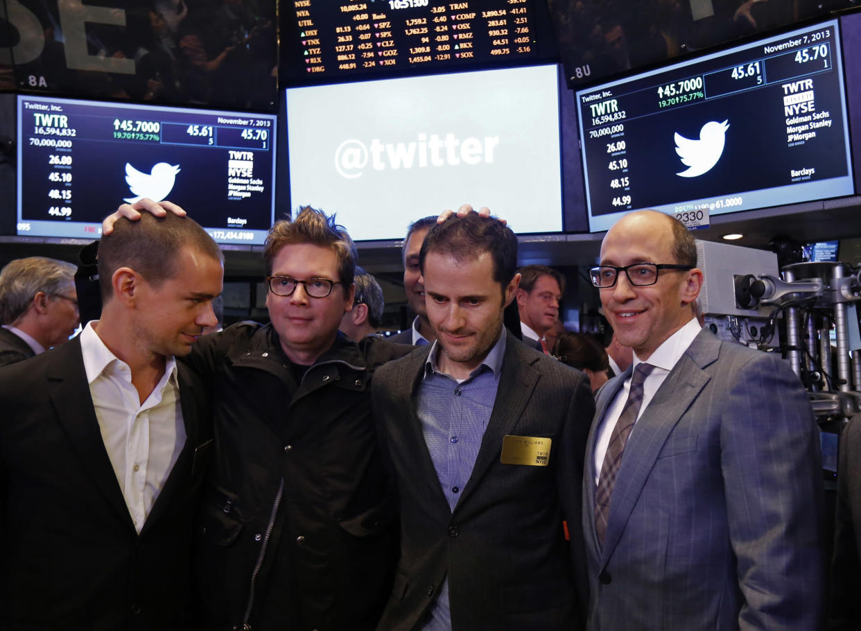 Twitter CEO Dick Costolo (R) celebrates the Twitter IPO with Twitter founders Jack Dorsey (L), Biz Stone (2nd L) and Evan Williams on the floor of the New York Stock Exchange in New York, November 7, 2013. REUTERS/Brendan McDermid