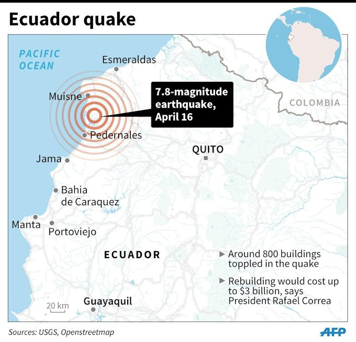 The main earthquake crumpled hundreds of buildings up and down Ecuador's Pacific coast (AFP Photo/Adrian LEUNG)