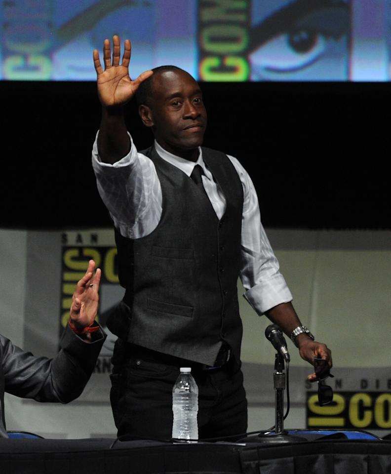 "SAN DIEGO, CA - JULY 14:  Actor Don Cheadle speaks at Marvel Studios ""Iron Man 3"" panel during Comic-Con International 2012 at San Diego Convention Center on July 14, 2012 in San Diego, California.  (Photo by Kevin Winter/Getty Images)"