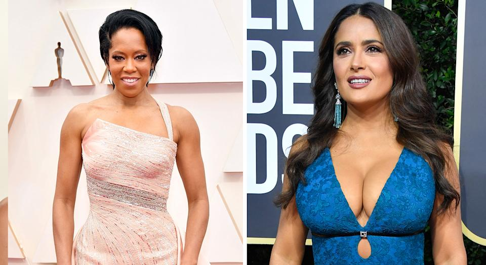 Regina King and Salma Hayek both wore Charlotte Tilbury's Pillow Talk Lipstick in Medium during awards season. (Getty Images)