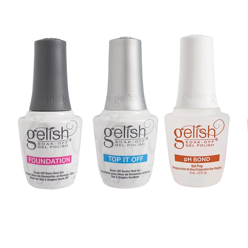 "<p>The <a href=""https://www.popsugar.com/buy/Gelish-Terrific-Trio-Gel-Polish-Essentials-Kit-361062?p_name=Gelish%20Terrific%20Trio%20Gel%20Polish%20Essentials%20Kit&retailer=amazon.com&pid=361062&price=30&evar1=bella%3Aus&evar9=45206847&evar98=https%3A%2F%2Fwww.popsugar.com%2Fbeauty%2Fphoto-gallery%2F45206847%2Fimage%2F45206848%2FGelish-Terrific-Trio-Gel-Polish-Essentials-Kit&list1=beauty%20products%2Cmanicure%2Cnails%2Cartificial%20nails%2Cmanicures&prop13=mobile&pdata=1"" rel=""nofollow"" data-shoppable-link=""1"" target=""_blank"" class=""ga-track"" data-ga-category=""Related"" data-ga-label=""https://www.amazon.com/gp/product/B007AU0FXA/ref=oh_aui_detailpage_o06_s00?ie=UTF8&amp;psc=1"" data-ga-action=""In-Line Links"">Gelish Terrific Trio Gel Polish Essentials Kit</a> ($30, originally $32) was the one choice that seemed pretty clear from the start. This three-piece set comes with pH Bond (the quick-soaking stuff they put on your nail before any polish), Foundation (aka base coat), and Top It Off (aka top coat). Efficient, quality, and $10 per bottle.</p>"