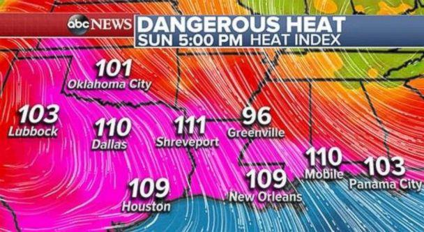 Temperatures in excess of 100 degrees are prevalent throughout much of Louisiana and Texas. (ABC News)