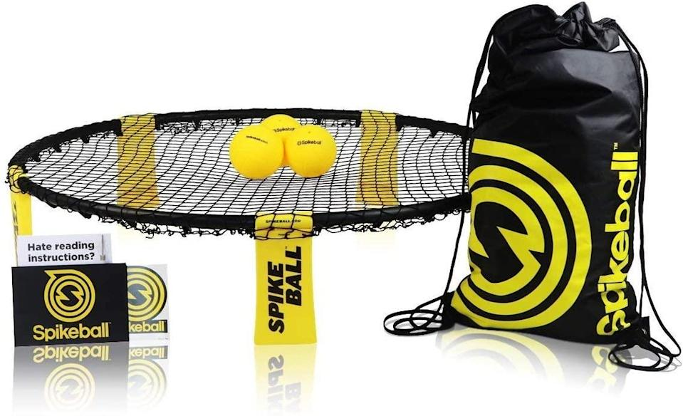 "<h3><a href=""https://amzn.to/3esTXhK"" rel=""nofollow noopener"" target=""_blank"" data-ylk=""slk:Spikeball Standard 3 Ball Kit"" class=""link rapid-noclick-resp"">Spikeball Standard 3 Ball Kit</a></h3> <br>As seen on Shark Tank, Spikeball is a fun, fast-paced, 2-on-2 outdoor sports game that's kind of like volleyball... if volleyball was played off a bouncy net as opposed to over it. <br><br><strong>Spikeball</strong> Standard 3 Ball Kit, $, available at <a href=""https://amzn.to/2DIcABv"" rel=""nofollow noopener"" target=""_blank"" data-ylk=""slk:Amazon"" class=""link rapid-noclick-resp"">Amazon</a><br>"