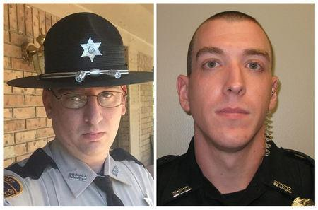A combination picture of Patrolman James White, 35, and Corporal Zach Moak, 31, are in these undated photos in Brookhaven, Mississippi, U.S., provided September 29, 2018.    Mississippi Department of Public Safety/Handout via REUTERS
