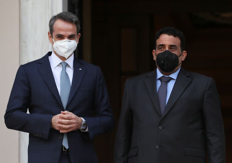 Greek PM Mitsotakis meets with Libya's head of Presidential Council al-Menfi in Athens