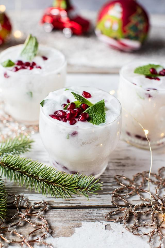 "<p>When looking for inspo in the festive drinks department then blog <a rel=""nofollow"" href=""https://www.halfbakedharvest.com/white-christmas-mojito/?crlt.pid=camp.ChRYH1JUFE3q"">Half Baked Harvest</a> is a safe bet. And we don't know about you but we'll be trying our hand at these Insta-worthy white Christmas mojitos, asap.<br /><br /><strong>Ingredients:</strong><br /><br />Juice of 1 lime<br />8 mint leaves<br />1 tablespoon sugar<br />2 tablespoons white rum<br />1 tablespoon coconut rum<br />1/4 cup canned coconut milk<br />sparkling water for topping<br />pomegranate arils<br /><em>[Photo: <a rel=""nofollow"" href=""https://www.halfbakedharvest.com/white-christmas-mojito/?crlt.pid=camp.ChRYH1JUFE3q"">Half Baked Harvest</a>]</em> </p>"
