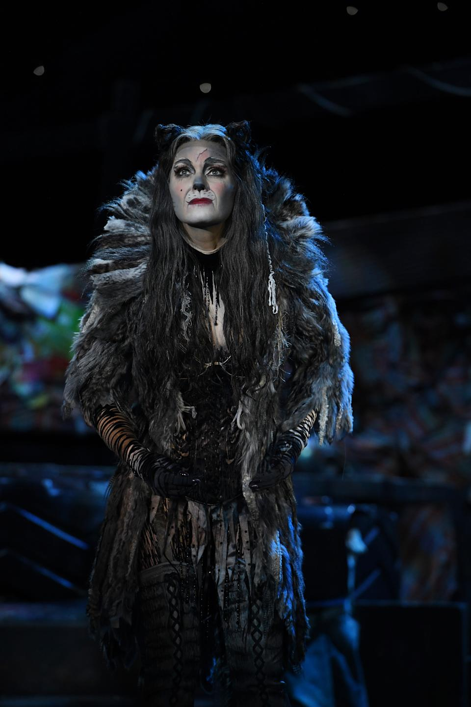 Grizabella in the London/West End Cats musical 2019 tour production by Cameron Mackintosh and Andrew Lloyd Webber's The Really Useful Theatre Group. (PHOTO: CATS Tour 2019/Alessandro Pinna)