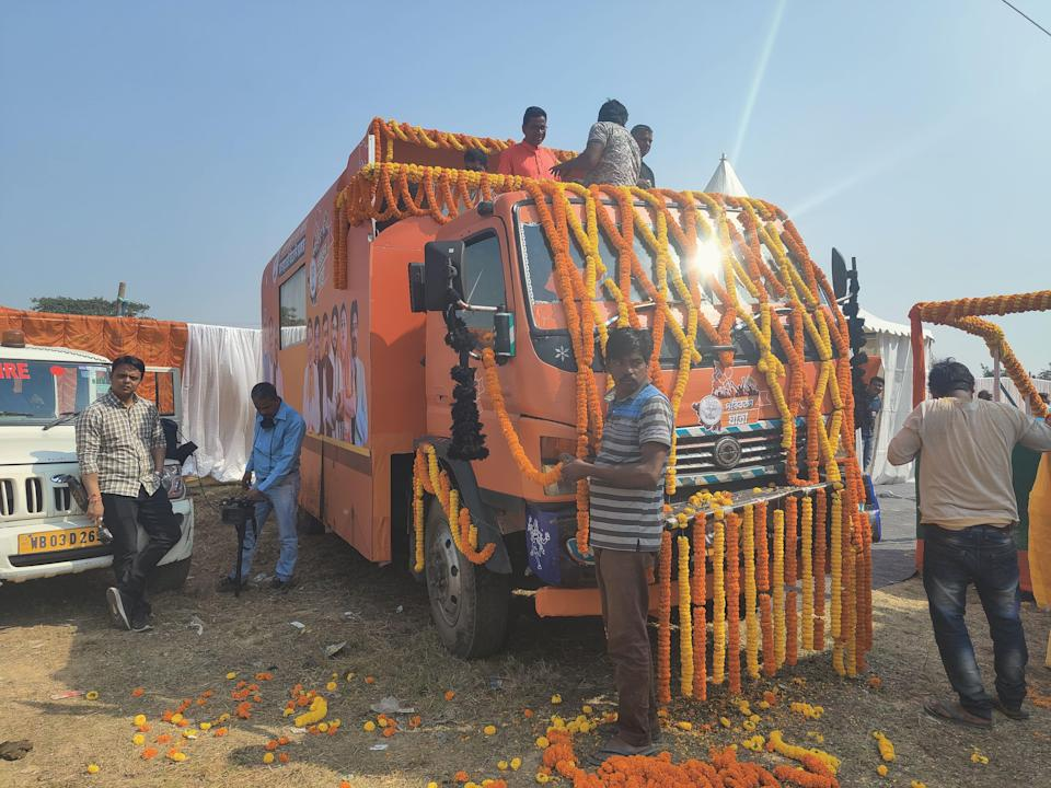 Over a span of about 25 days, the 'Rath', a saffron air-conditioned bus, is slated to traverse all 294 constituencies in the state ahead of the elections in April-May.