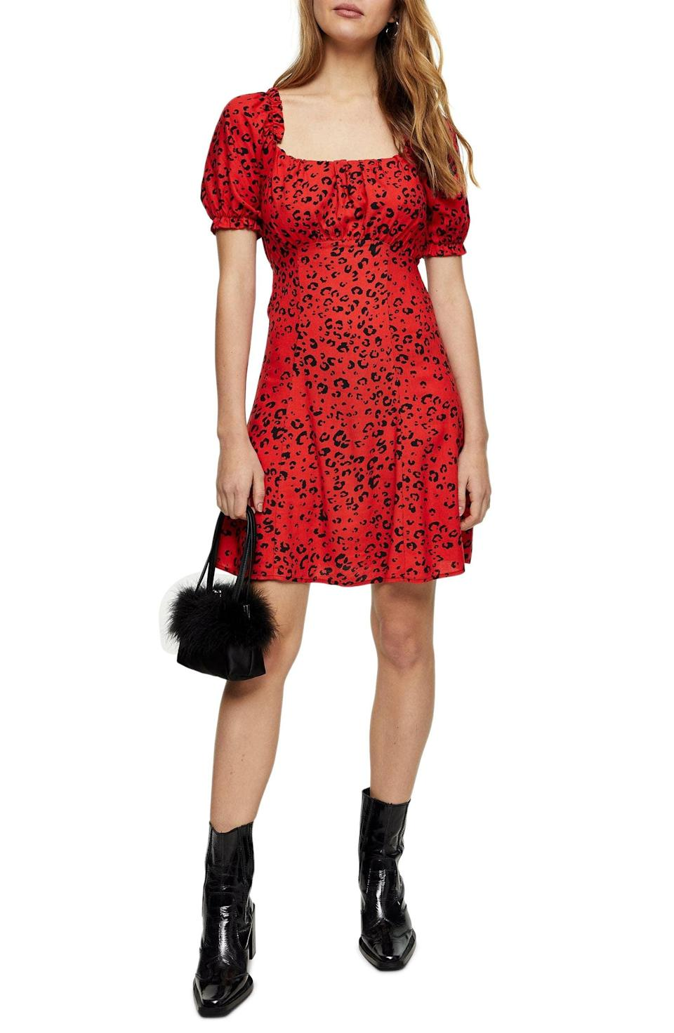 <p>Go for a bright pop of color with this <span>Topshop Leopard Print Gathered Bust Minidress</span> ($34, originally $50).</p>