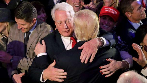 PHOTO: Robert Trump hugs his brother, Republican president-elect Donald Trump, after Donald Trump delivered his acceptance speech at the New York Hilton Midtown in the early morning hours of Nov. 9, 2016, in New York City. (Chip Somodevilla/Getty Images, File)