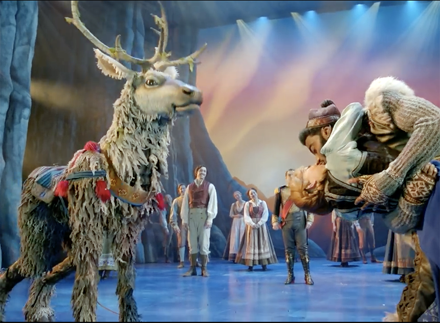 Sven the reindeer is a very fit guy in a suit. (Two actors alternate.)