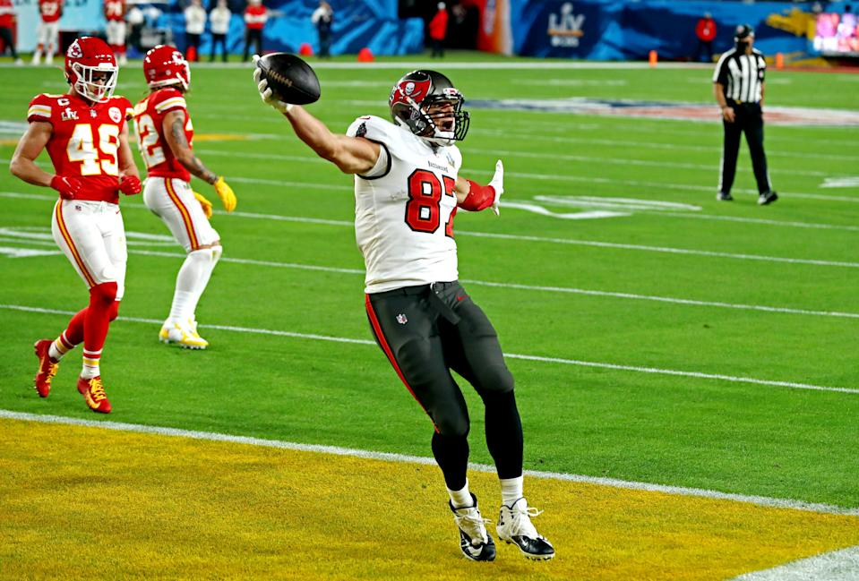 Feb 4, 2020; Tampa, FL, USA;  Tampa Bay Buccaneers tight end Rob Gronkowski (87) celebrates scoring a touchdown during the first quarter against the Kansas City Chiefs in Super Bowl LV at Raymond James Stadium.  Mandatory Credit: Matthew Emmons-USA TODAY Sports     TPX IMAGES OF THE DAY