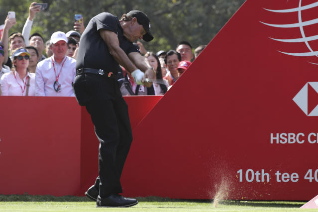 Phil Mickelson of the United States tees off for the HSBC Champions golf tournament at the Sheshan International Golf Club in Shanghai on Thursday, Oct. 31, 2019. (AP Photo/Ng Han Guan)