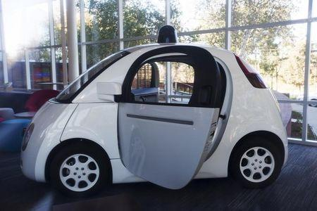 A Google self-driving car is seen at the Google Headquarters in Mountain View, California