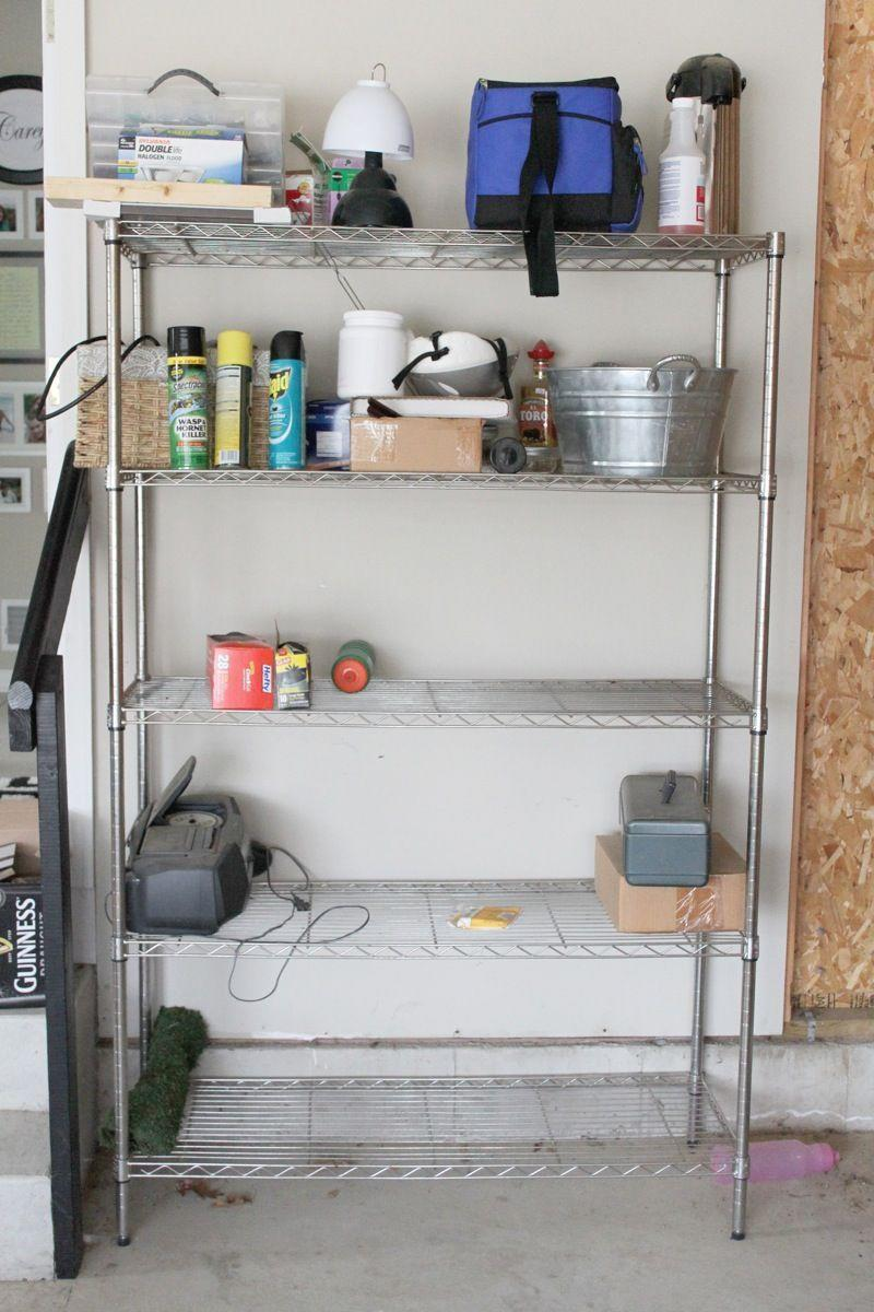 """<p>Because of brutal Michigan winters, this <a href=""""http://www.justagirlblog.com/organized-garage-shelves-lowes-creator/"""" rel=""""nofollow noopener"""" target=""""_blank"""" data-ylk=""""slk:blogger"""" class=""""link rapid-noclick-resp"""">blogger</a> used her garage shelves as a catchall so she didn't have to spend more time in the cold than necessary. As a result, it became piled with odds and ends quickly.</p>"""