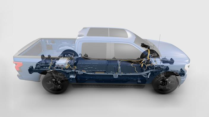 """The standard battery on the F-150 Lightning has 230 miles of range. The extended version brings that up to 300 miles<span class=""""copyright"""">Ford</span>"""